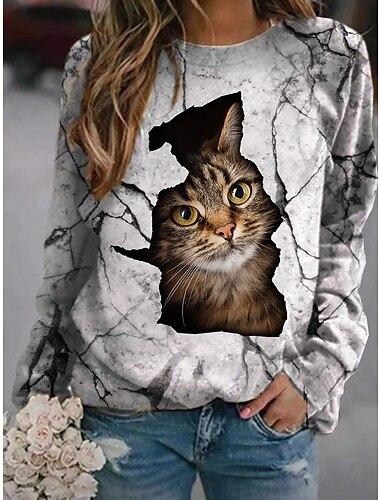 여성용 맨투맨 스웻티셔츠 풀오버 고양이 3D 동물 프린트 일상 스포츠 3D 인쇄 활동적 스트리트 쉬크 후드 스웨트 셔츠 그레이