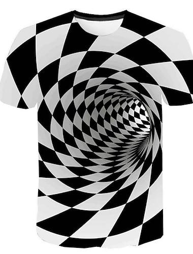 Ανδρικά Μπλουζάκι Πουκάμισο Γραφική Γεωμετρικό 3D Στάμπα Κοντομάνικο Αιτιώδης συνάφεια Άριστος Στρογγυλή Λαιμόκοψη Λευκό / Καλοκαίρι