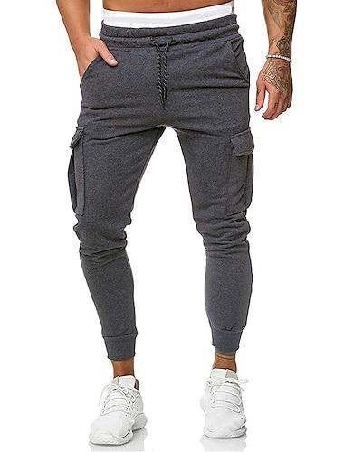 Męskie Na co dzień / Sportowy Spodnie Luźna Codzienny Spodnie Solidne kolory Pełna długość Jasnoszary Czarny Ciemnoszary