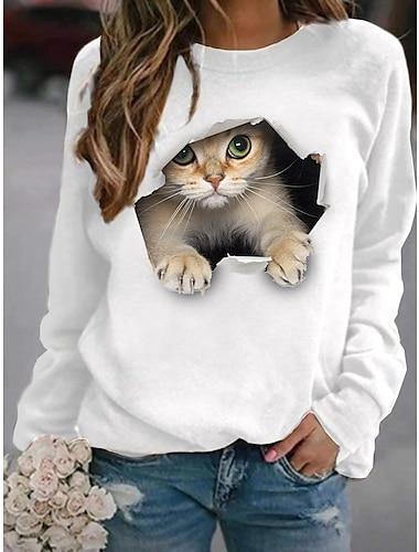 여성용 맨투맨 스웻티셔츠 풀오버 고양이 3D 동물 3D 프린트 일상 스포츠 3D 인쇄 활동적 스트리트 쉬크 후드 스웨트 셔츠 옐로우 블러슁 핑크 와인