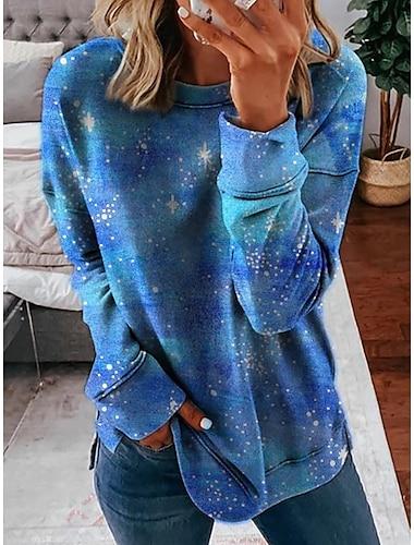 여성용 맨투맨 스웻티셔츠 타이-다이 일상 3D 인쇄 캐쥬얼 후드 스웨트 셔츠 푸른