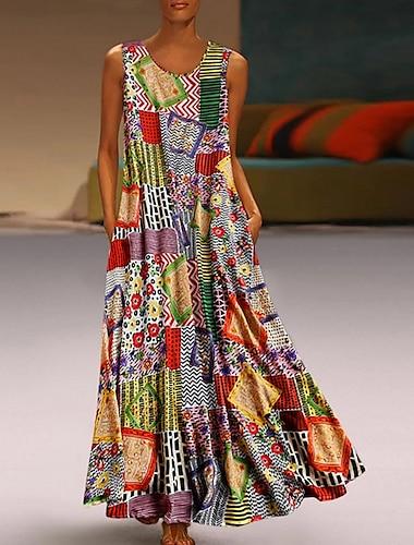 Γυναικεία Φόρεμα ριχτό από τη μέση και κάτω Μακρύ φόρεμα Χακί Αμάνικο Φυλής Γεωμτερικό Μπλοκ χρωμάτων Τσέπη Καλοκαίρι Στρογγυλή Λαιμόκοψη Εθνοτικό στυλ καυτό Καθημερινό 2021 M L XL XXL 3XL 4XL 5XL
