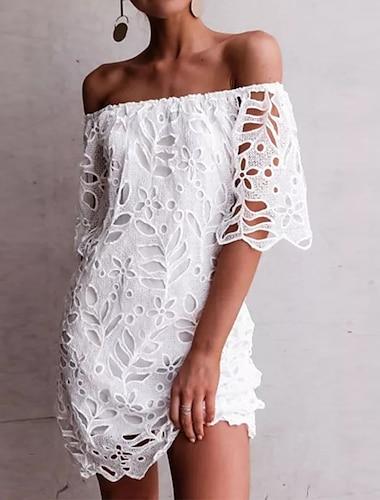 Γυναικεία Φόρεμα ριχτό Μίνι φόρεμα Λευκό Μισό μανίκι Συμπαγές Χρώμα Πολυεπίπεδο Κοφτό Δαντέλα Άνοιξη Καλοκαίρι Ώμοι Έξω Κομψό Καθημερινό Αργίες 2021 Τ M L XL XXL