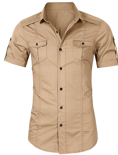男性用 シャツ 純色 ボタンダウン 半袖 ストリート トップの コットン カジュアル 快適 ミリタリースタイル アーミーグリーン カーキ色 ブラック
