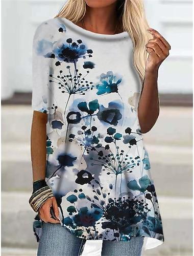 Dámské Tričkové šaty Krátké mini šaty Vodní modrá Trávová zelená Poloviční rukáv Květinový Tisk Podzim Léto Kulatý Na běžné nošení Dovolená 2021 S M L XL XXL 3XL