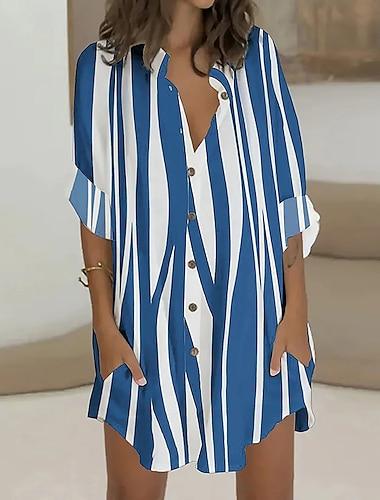 Γυναικεία Φόρεμα ριχτό Μίνι φόρεμα μπλε ρίγες Ανθισμένο Ροζ Παραλλαγή Λευκό Μακρυμάνικο Φλοράλ Ριγέ Ζώο Στάμπα Άνοιξη, Φθινόπωρο, Χειμώνας, Καλοκαίρι Κολάρο Πουκαμίσου Καθημερινά 2021 Τ M L XL XXL