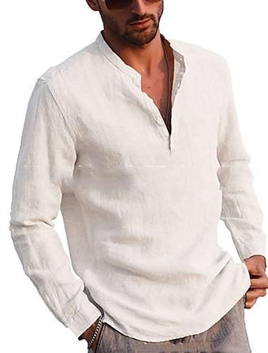 Herren Hemd Volltonfarbe Button-Down Langarm Strasse Oberteile Freizeit Komfortabel Hellgelb Khaki Gruen