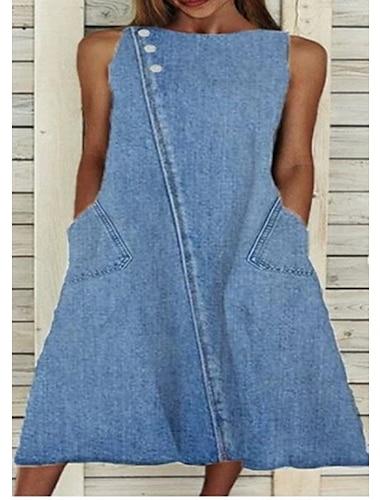 Women\'s A Line Dress Midi Dress Blue Sleeveless Solid Color Summer Casual 2021 S M L XL XXL XXXL