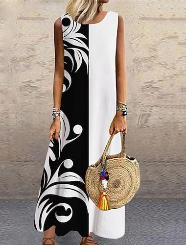 Women\'s Shift Dress Maxi long Dress White Black Sleeveless Floral Print Fall Summer Round Neck Casual 2021 S M L XL XXL 3XL