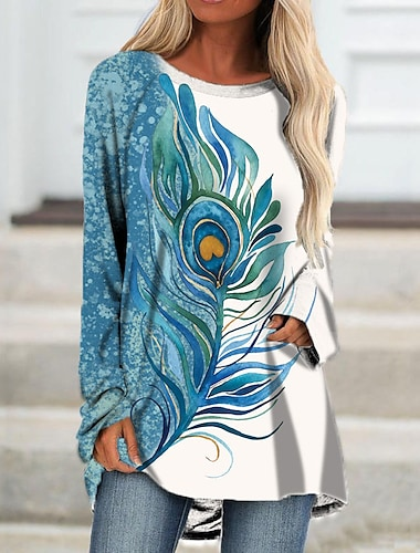 Dámské Úpletové šaty Krátké mini šaty Vodní modrá Černá Dlouhý rukáv Tisk Tisk Podzim Léto Kulatý Na běžné nošení Dovolená 2021 S M L XL XXL 3XL