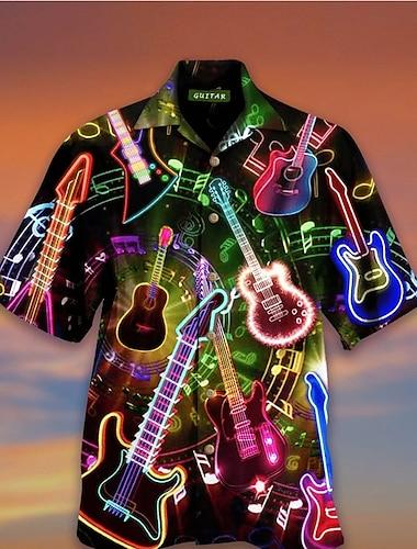 Men\'s Shirt 3D Print Musical Instrument 3D Print Short Sleeve Holiday Tops Beach Black