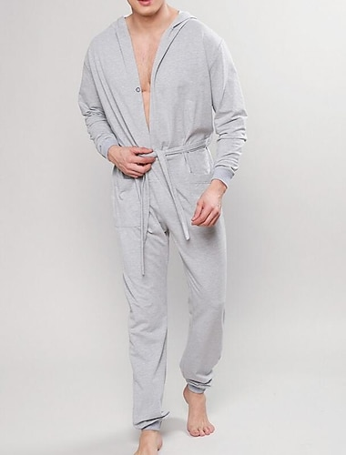 Herr Vardagsklädsel Pyjamas Hem Spetsknuten Ensfärgat Polyester Ledigt Mode Höst vinter Långärmad