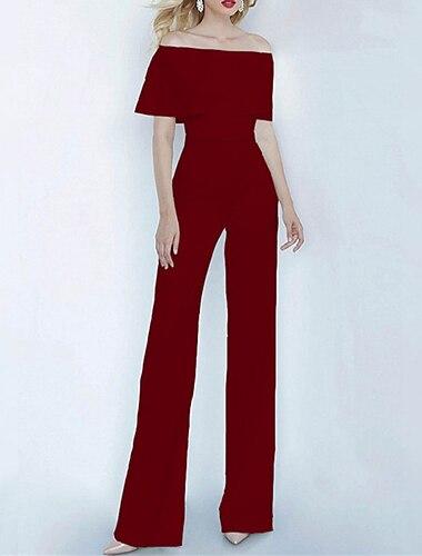 여성용 캐쥬얼 거리 일상복 주름장식 푸른 블러슁 핑크 와인 점프 수트 솔리드