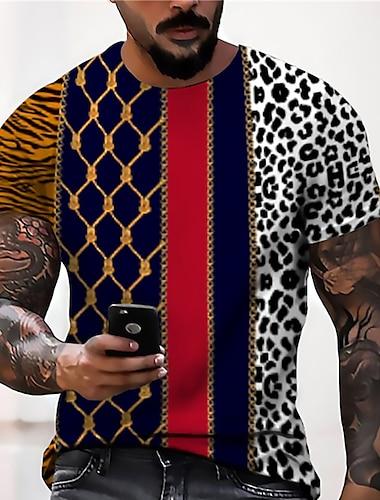 Pánské Unisex Trička Tričko Košile 3D tisk Grafické tisky Geometrie Tisk Krátký rukáv Denní Topy Na běžné nošení Designové Velký a vysoký Námořnická modř