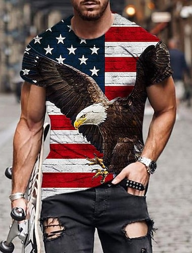 Men\'s Tee T shirt Shirt 3D Print Graphic Eagle American Flag Independence Day Plus Size Short Sleeve Casual Tops Basic Designer Slim Fit Big and Tall Black / Summer