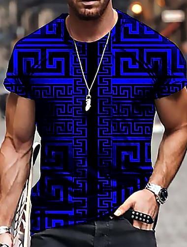 Herren Unisex Tee T-Shirt Hemd 3D-Druck Geometrisch Grafik-Drucke Druck Kurzarm Alltag Oberteile Freizeit Designer Gross und hoch Blau Purpur Gelb / Sommer