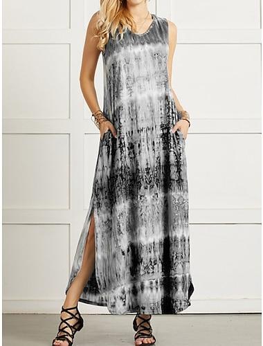 Γυναικεία Φόρεμα ριχτό Μακρύ φόρεμα Θαλασσί Βυσσινί Πράσινο του τριφυλλιού Μαύρο Ρουμπίνι Αμάνικο Δετοβαμένο Άνοιξη Καλοκαίρι Καθημερινό 2021 Τ M L XL XXL XXXL 4XL 5XL