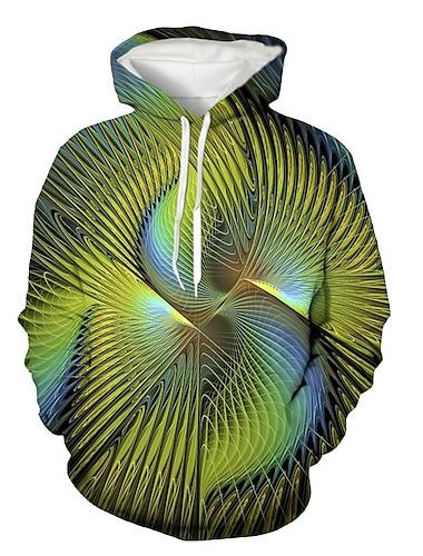 Муж. Толстовка с капюшоном и пуловером Графика Капюшон Повседневные На выход 3D печать Классический На каждый день Толстовки Толстовки Зеленый