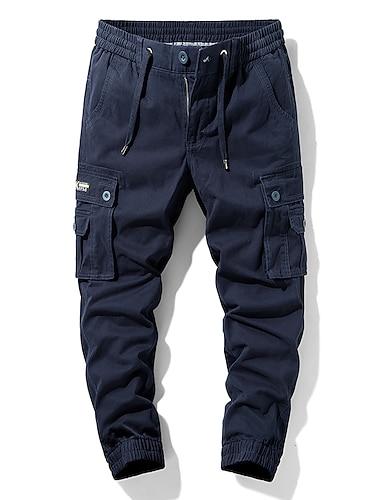 Hombre Cargo chino Chinos Pantalones tipo cargo Delgado Pantalones Retazos Color solido Azul Piscina Verde Ejercito Caqui Negro