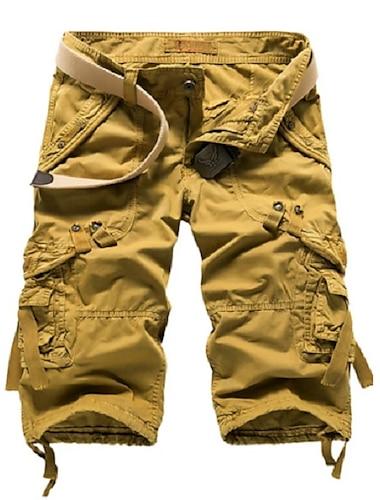 Homme basique Short Pantalon cargo Mince du quotidien Pantalon Couleur Pleine Mollet Rouge vin Kaki Gris Clair Gris Fonce Vert Claire / Ete