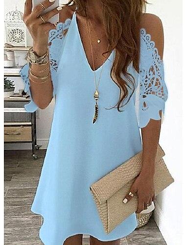 Γυναικεία Φόρεμα ριχτό Μίνι φόρεμα Μπλε Απαλό Κίτρινο Ανθισμένο Ροζ Λευκό Μαύρο Ρουμπίνι Βαθυγάλαζο Μισό Μανίκι Συμπαγές Χρώμα Ανοιχτός Κρύος ώμος Άνοιξη Καλοκαίρι Λαιμόκοψη V Στυλάτο Καθημερινό 2021