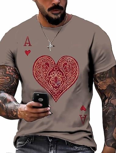Herren Tee T-Shirt Hemd 3D-Druck Grafik-Drucke Poker Buchstabe Druck Kurzarm Alltag Oberteile Freizeit Designer Gross und hoch Rundhalsausschnitt Leicht Braun Schwarz Braun / Sommer