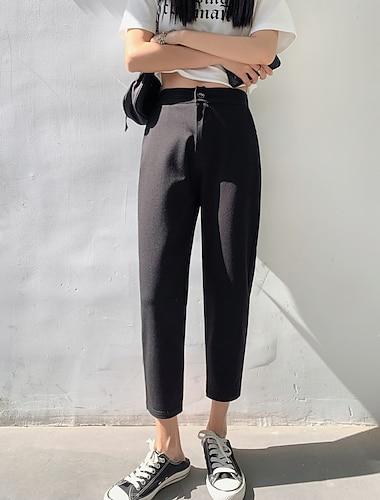 Dámské Jednoduchý Základní Pohodlné Kalhoty chinos Denní Víkend Kalhoty Bez vzoru Po kotníky Kapsy Černá