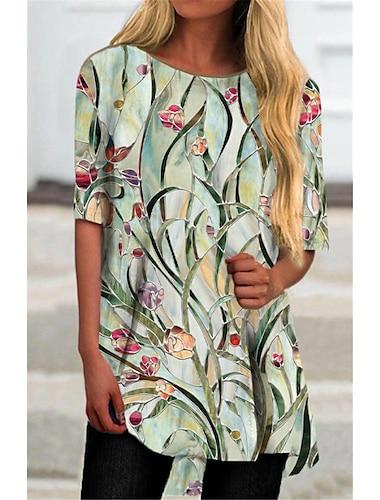 Dámské Tričkové šaty Krátké mini šaty Trávová zelená Poloviční rukáv Květinový Tisk Tisk Podzim Léto Kulatý Na běžné nošení 2021 S M L XL XXL 3XL