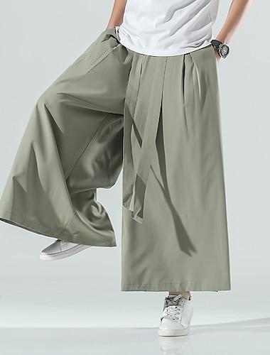 Bărbați Casual Chinoiserie Stil popular Exterior Pantaloni Larg Casă Zilnic Pantaloni Mată Lungime până la glezne Picior Larg Cordon Verde Militar Gri Negru / Vară