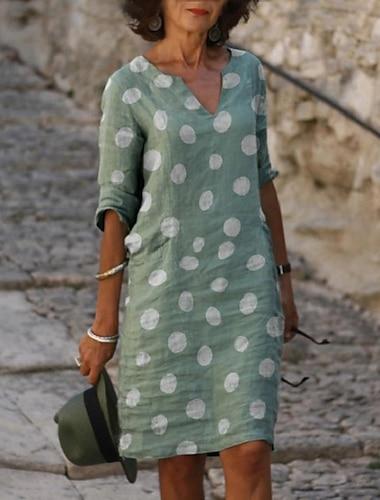 γυναικείο φόρεμα με μήκος γόνατο φόρεμα γκρι ανοιχτό πράσινο γαλάζιο 3/4 μανίκι πουά εκτύπωση χαλαρή άνοιξη καλοκαίρι v λαιμός casual 2021 s m l xl xxl 3xl