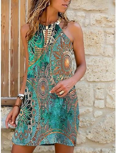 Γυναικεία Φόρεμα με λεπτή τιράντα Μίνι φόρεμα Θαλασσί Πράσινο του τριφυλλιού Μπλε Απαλό Αμάνικο Φλοράλ Διαβάθμιση χρώματος Στάμπα Καλοκαίρι Δένει στο Λαιμό Καθημερινό 2021 Τ M L XL XXL 3XL