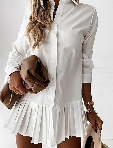 여성용 데이트 페플럼 셔츠 플레인 긴 소매 주름장식 패치 워크 셔츠 카라 캐쥬얼 탑스 카키 화이트 블랙