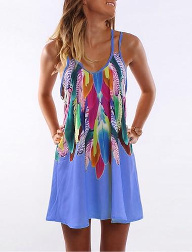 Women\'s A Line Dress Short Mini Dress Blue Yellow Blushing Pink Orange Sleeveless Print Print Summer Round Neck Casual Holiday 2021 S M L XL XXL 3XL 4XL 5XL