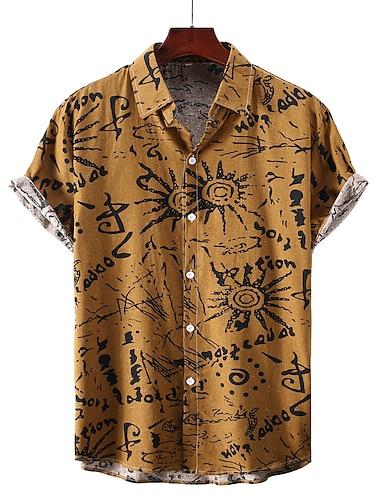Men\'s Shirt Graphic Short Sleeve Casual Regular Fit Tops Basic Yellow