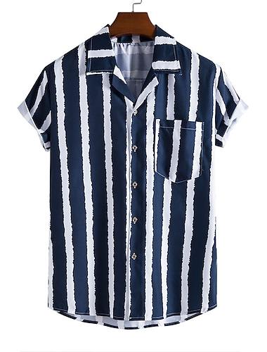 Men\'s Shirt Other Prints Striped Button-Down Print Short Sleeve Daily Tops Casual Blue