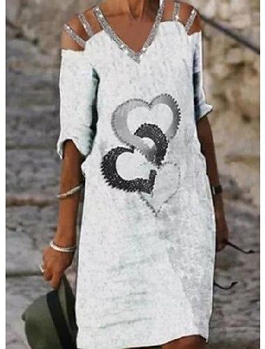 Női Pólóruha Térdig érő ruha Fehér Féhosszú Szív Kivágott Tavasz Nyár V-alakú Alkalmi 2021 S M L XL XXL / Pamut