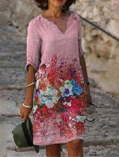Női A vonalú ruha Térdig érő ruha Sárga Rubin Világoskék Háromnegyedes Virágos Nyomtatott Nyár V-alakú Alkalmi 2021 S M L XL XXL 3 XL 4 XL 5 XL