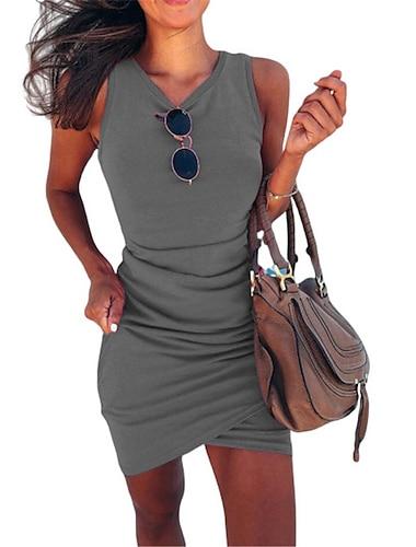 Γυναικεία Φόρεμα σε γραμμή Α Μίνι φόρεμα Φούξια Γκρίζο Πράσινο του τριφυλλιού Μαύρο Βαθυγάλαζο Αμάνικο Συμπαγές Χρώμα Σουρωτά Καλοκαίρι Στρογγυλή Λαιμόκοψη Καθημερινό Αργίες 2021 Τ M L XL XXL