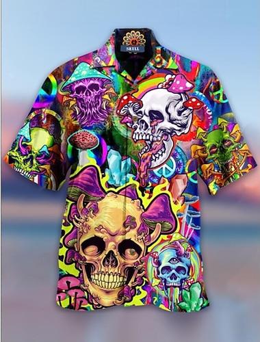 Men\'s Shirt 3D Print Skull 3D Print Short Sleeve Holiday Tops Hawaiian Yellow
