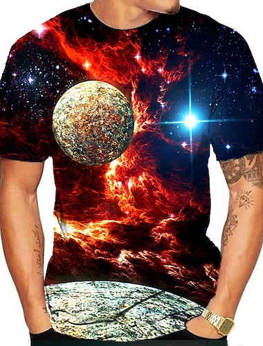 Men\'s T shirt Galaxy Graphic Print Short Sleeve Daily Tops Round Neck Red / Summer