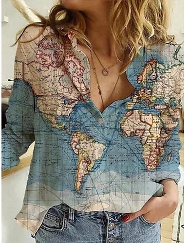 추상 캐주얼 세계 지도 인쇄 긴팔 셔츠& 상의