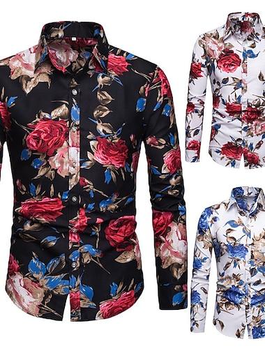 Herr Skjorta Blommig Button-Down Långärmad Tillfällig Blast Lättvikt Ledigt Mode Andningsfunktion Svart / röd Blå Rubinrött