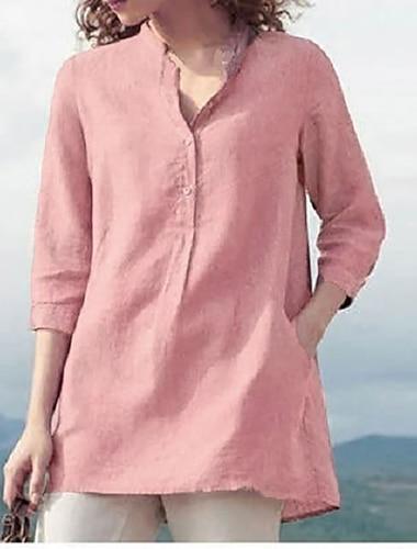 Γυναικεία Αργίες Μπλούζα Πουκάμισο Σκέτο Τσέπη Κουμπί Όρθιος γιακάς Βασικό Κομψό στυλ street Άριστος Φαρδιά Θαλασσί Ανθισμένο Ροζ Φούξια