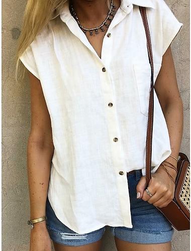여성용 블라우스 셔츠 셔츠 카라 베이직 탑스 라이트 블루 옐로우 오렌지