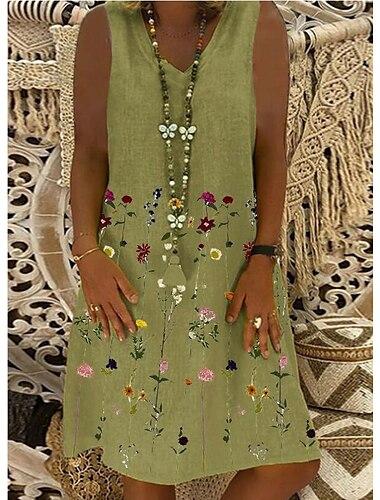 Γυναικεία Φόρεμα σε γραμμή Α Φόρεμα μέχρι το γόνατο Πράσινο του τριφυλλιού Αμάνικο Λουλούδι Στάμπα Άνοιξη Καλοκαίρι Λαιμόκοψη V Εθνοτικό στυλ Καθημερινό Αργίες Φαρδιά 2021 Τ M L XL XXL