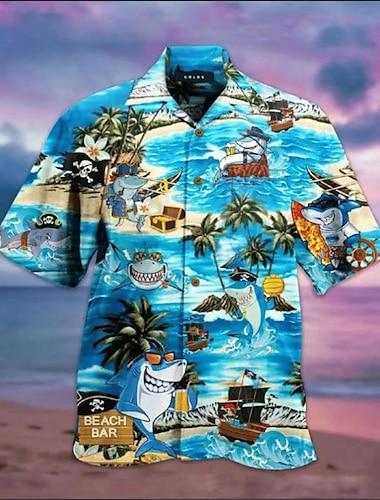 Męskie Koszula Tłoczenie na gorąco Rekin 3D Krótki rękaw Święto Najfatalniejszy Hawajskie Niebieski