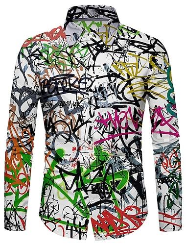 Per uomo Camicia Stampa 3D Graffiti Stampa 3D Bottone giu Manica lunga Casuale Top Casuale Di tendenza Comodo Arcobaleno / Sport