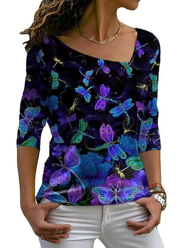 Dámské Květinový motiv Obraz Tričko Grafika Zvíře Dlouhý rukáv Tisk Do V Základní Topy Fialová