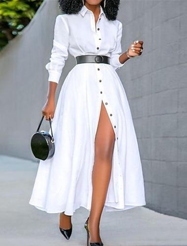 Women\'s A Line Dress Maxi long Dress White Black Long Sleeve Solid Color Split Button Fall Summer Shirt Collar Casual 2021 S M L XL XXL 3XL 4XL 5XL
