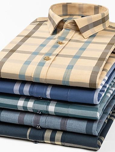 Men\'s Shirt Other Prints Plaid Lattice collared shirts Long Sleeve Casual Tops Designer Light Yellow Blue Gray / Beach